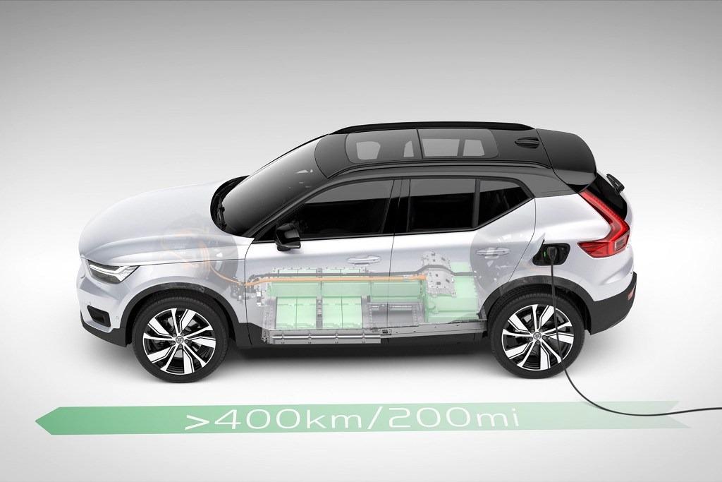 Volvo XC40 Recharge - Batterien im Unterboden (technische Illustration)
