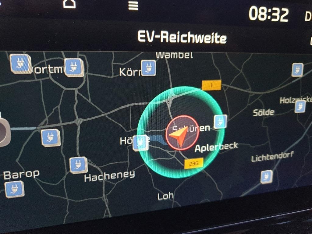 EV-Reichweite im Navigationssystem